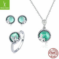 High quality 925 Sterling Silver Ring Stud Earrings Necklace Mermaid Jewelry Set