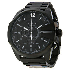 Diesel Mega Chief Chronograph Black Dial Black Ion-plated Mens Watch DZ4283