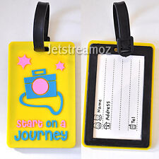 1 X Yellow Camera Luggage School Bag Tag Name Label ID SECURITY TRAVEL