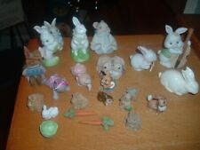 Easter Ceramic Bunny Rabbit Figurine 23 Total-All in great shape