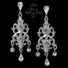 Swarovski Crystal Elements Clear Silver Chandelier Earrings Victorian Wedding
