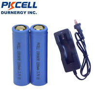 2x ICR18650 Li-ion Rechargeable Batteries 3.7V 2200mAh Flat Top with Charger