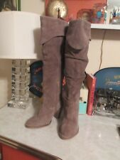 Jeffrey Campbell Womens Tall  Kamala  Heeled Boots Taupe Suede SZ 7.5 NWOB