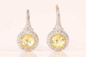 Judith Ripka 925 sterling silver 18k plate crystal topaz drop earrings NEW $225