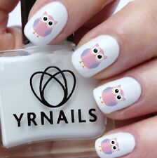 Nail WRAPS Nail Art Water Transfers Decals - Pink and Purple Owl - S778