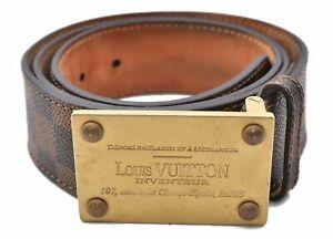 Louis Vuitton Damier Men's Leather Brown Belt Size 90.0-100.0 M6180 LV 0888A