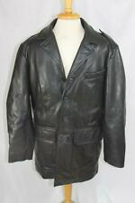 Tommy Hilfiger Black Leather Coat Medium Wool Blend Lining Button Front