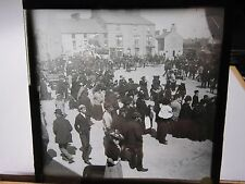 c1900 - HOLYHEAD STREET SCENE PARADE Anglesey Wales - Glass Lantern Photo Slide