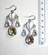 Vintage Czech German glass Clear crystal leaf chandelier ENVY silver earrings