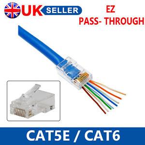 1000X EZ RJ45 UTP GOLD PLATED PASS THROUGH CAT5 NETWORK CABLE CONNECTORS