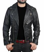 New Men's Black Vintage Slim Fit Brando Style Real Leather Biker Jacket Sale