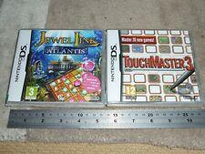 JOB LOT 2 NINTENDO DS DSI 3DS GAMES TOUCHMASTER 3 JEWEL LINK ATLANTIS New Boxed