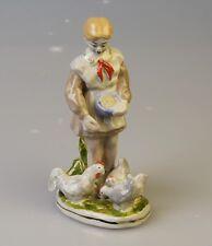 Russische Porzellanfigur Mädchen mit die Hühner Porzellan Russland Pionier