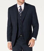 Michael Kors Mens Blue Size 46 Long Classic Fit Airsoft Plaid Blazer $295 #267
