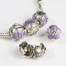 Lots Enamel Flower Silver Charm Beads Clips Locks Stoppers for European Bracelet