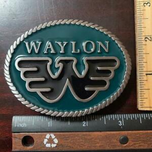 Waylon Jennings W Oval Belt Buckle Solid Metal Green and Black Sturdy