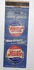 "*RARE VINTAGE PRE-1953 AMERICAN ""PEPSI:COLA 2-DOT""  MATCHBOOK COVER- VERY GOOD"