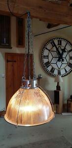 Genuine Vintage Holophane Glass Industrial Factory Pendant light Fitting