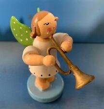 Engel mit Trompete Erzgebirge Weihnachten Deko Holzfigur alt Sammler Krone