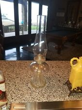 "LAMPLIGHT FARMS AUSTRIA PRESSED CLEAR GLASS OIL LAMP 16 1/2"" TALL"