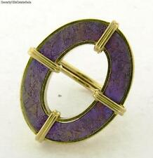 Stunning H. Stern Purple Enamel 0 Shape 18k Yellow Gold Ring