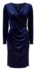 Wallis Navy Velvet Long Sleeved Wrap Dress - Size 14