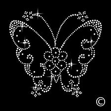 Butterfly Rhinestone Diamante Motif T Shirt Transfer Iron On Hotfix Gem