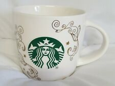Starbucks White Swirl Siren Mermaid 14oz Ceramic Coffee Tea Mug Cup New!