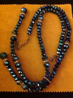 Vintage Joan Rivers Blue Faceted Aurora Borealis Bead Rhinestone Lariat Necklace
