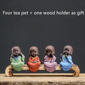 mini zisha tea pet yixing purple clay tea play small monk creative ornament gift