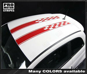Fiat 500 2007-2015 Hood and Roof Double Stripes Decals (Choose Color)