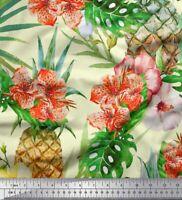Soimoi Stoff floral, monstera Blätter & Ananas Obst Stoff 1 Meter -FT-51G