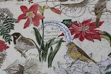 Pottery Barn Full Queen Winter Bird Amaryllis Holly Organic Cotton Duvet Cover