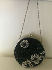 Authentic BCBG MAX AZARIA Evening Handbag Black/White Beads Silver Gorgeous New!