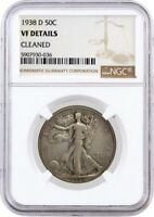 1938 D 50C Walking Liberty Silver Half Dollar NGC VF Details Cleaned Coin #036