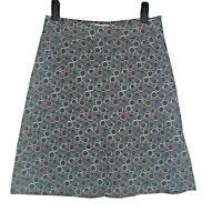 Seasalt Killingley Grey Pink Geometric Cord Casual Flare Aline Skirt Size 10