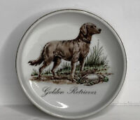 "Vintage Porcelain Golden Retriever Jewelry Trinket Dish  4 1/2"" Diameter"