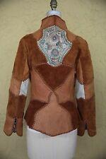 Vtg 60s 70s Char Leather Suede Jacket Coat Handpainted Patchwork Boho Hippie