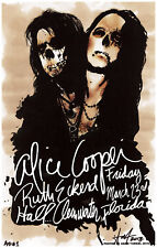 ALICE COOPER rare CONCERT GIG POSTER Signed #d FLA Pop Art GLAM Classic ROCK