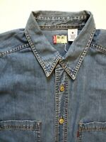 LEVI'S DENIM SHIRT MEN'S REGULAR FIT BUTTONS MEDIUM MID BLUE LSHT736