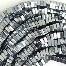 """4mm hematite heishi square beads 16"""" strand silver color"""