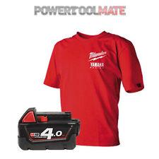 Milwaukee M18B4 18v 4Ah Li-Ion Red genuine battery - Free Milwaukee T-Shirt(L)