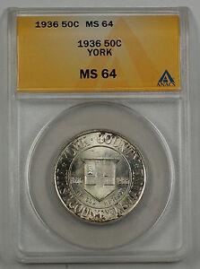 1936 York County Commemorative Silver Half Dollar 50c Coin ANACS MS 64