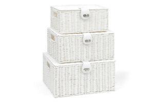 Set of 3 Resin Woven Storage Basket Box With Lid & Lock Grey, Large, Medium, Sma