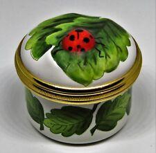 Halcyon Days Enamel Box - Three Dimensional Lady Bug & Leaves - Lady Bugs