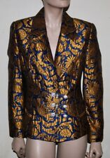 Gianfranco Ferre silk brocade jacket with rhinestone embellished closures 40