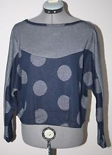NWT Women's Anthropologie Navy Silver Long Sleeve Top Pullover Size M