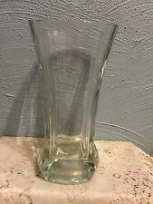 "Modern Crystal Flower Vase 9.75"" Square Shaped Beveled Layer on Front and Back"