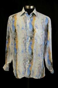ST CROIX Colorful Watercolor LINEN BUTTON-UP SHIRT Long Sleeve ITALY Mens MEDIUM
