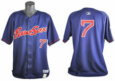 Red Sox Dustin Pedroia 2005 PawSox Game Worn Alternate Navy Jersey w/ LOA